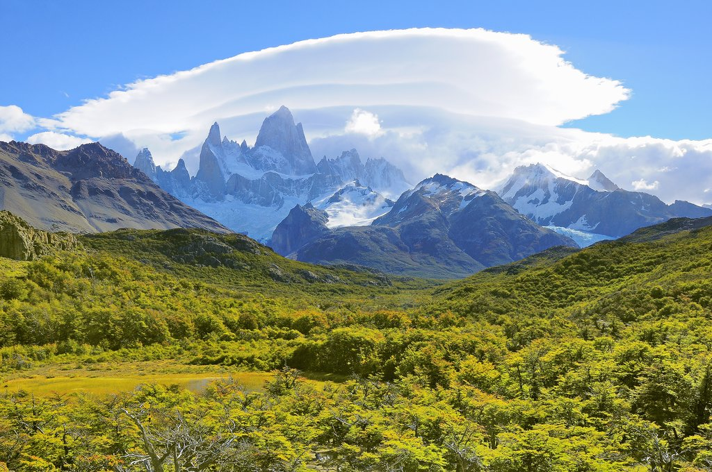 Argentina's Mt. Fitz Roy looming in the distance