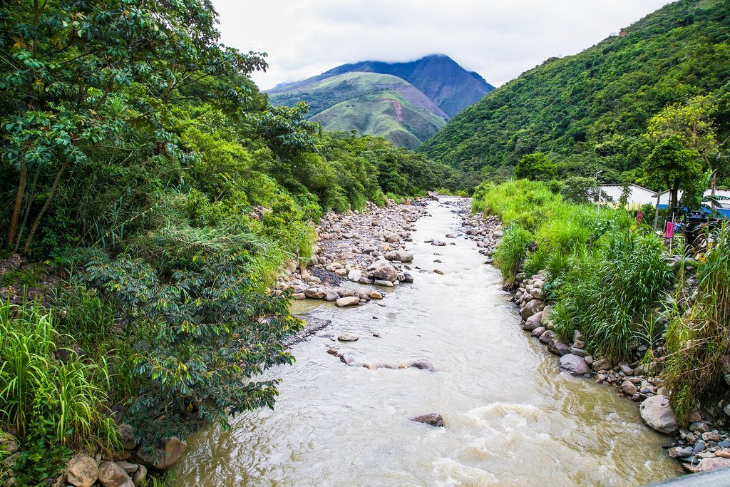 River crossing on the trek from Pongo to La Paz