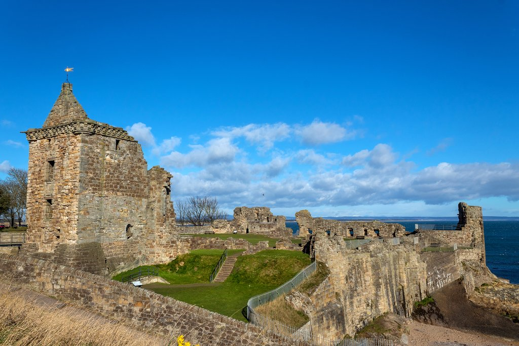 Ruins of St Andrews Castle in Fife, Scotland