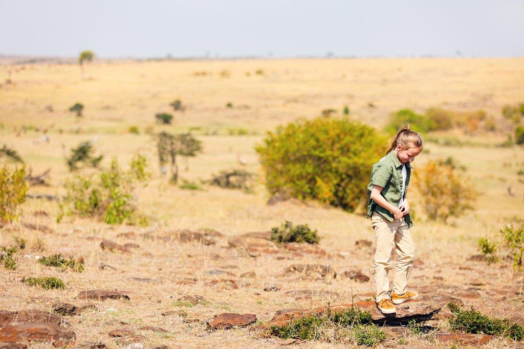 Girl on safari in Kenya