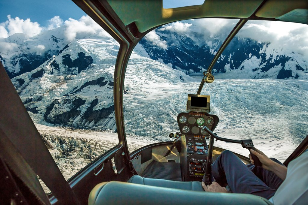 Heli flight in the Chugach mountains