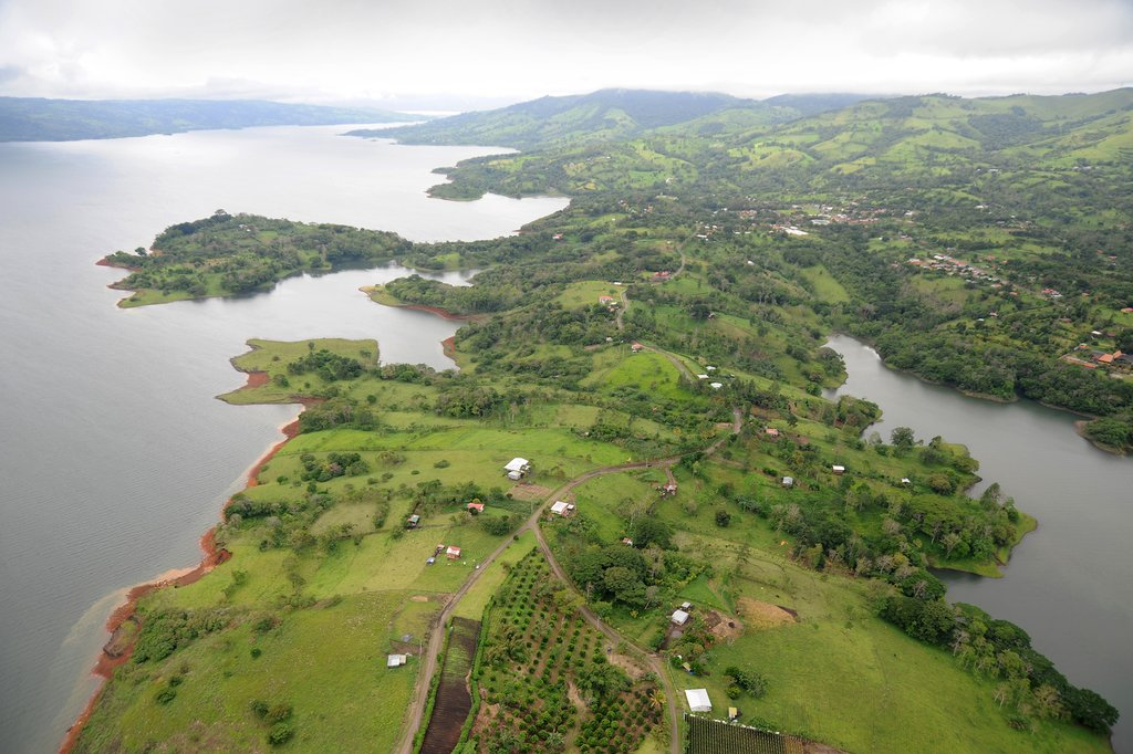 An aerial view over Costa Rican wetlands