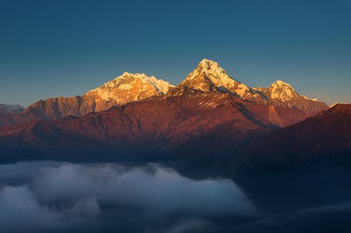 View of Annapurna I at sunset from Poon Hill