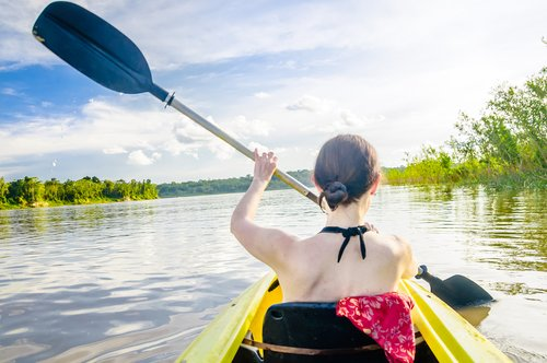 Kayaking in the Amazon near Leticia.