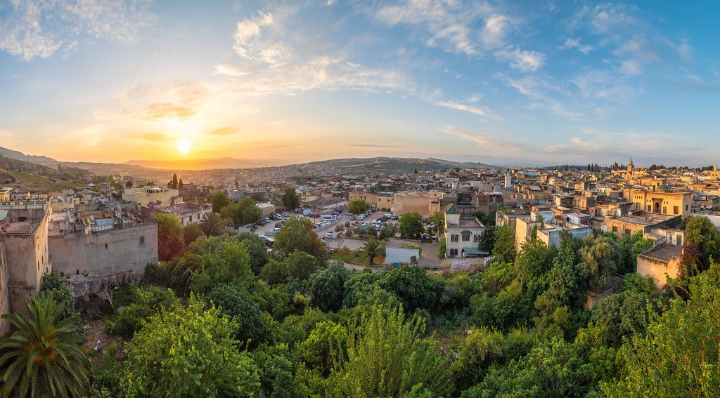 Panoramic view of Fes at sunset time, Morocco