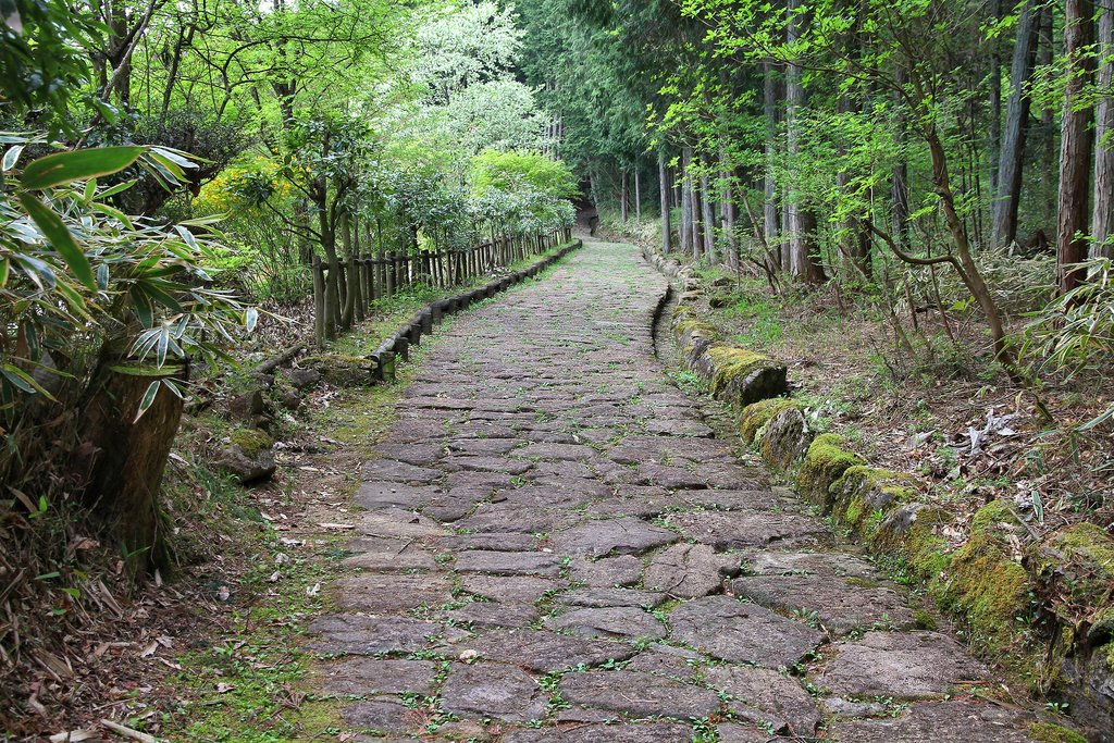 The original paved stones of the old Nakasendo trail in central mountainous Japan