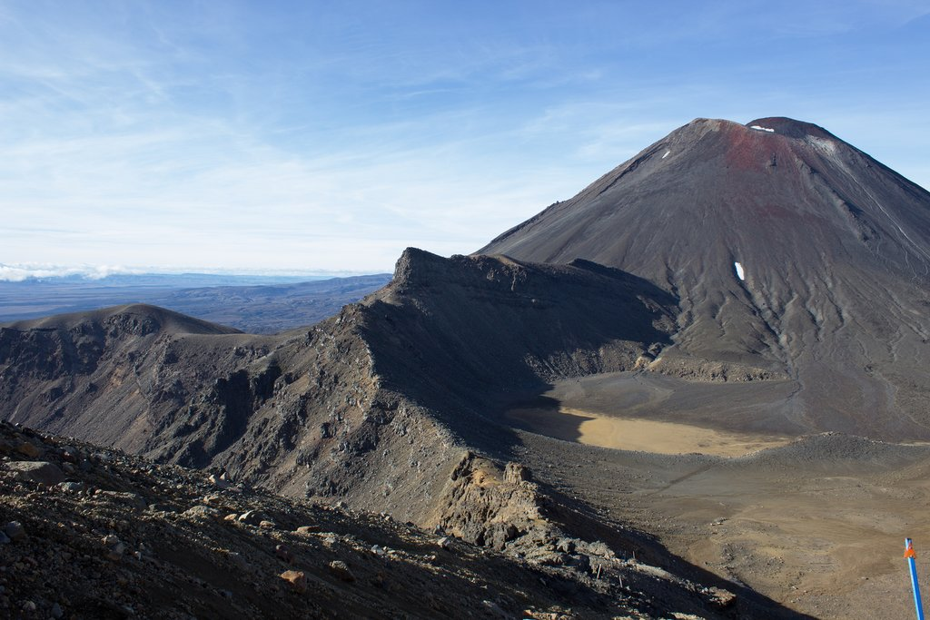 View of Mount Ngauruhoe  from the Tongariro Alpine Crossing in Tongariro National Park