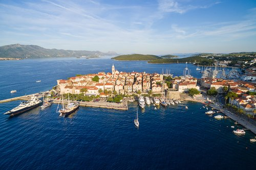 Aerial view of Korcula's Old Town