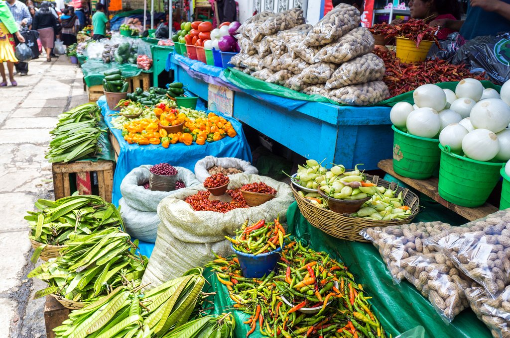 Colorful produce in a traditional market