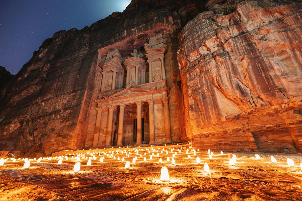 Petra candlelit at night