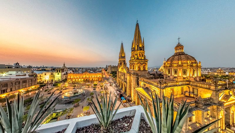 View over Guadalajara's Plaza de Armas and Cathedral