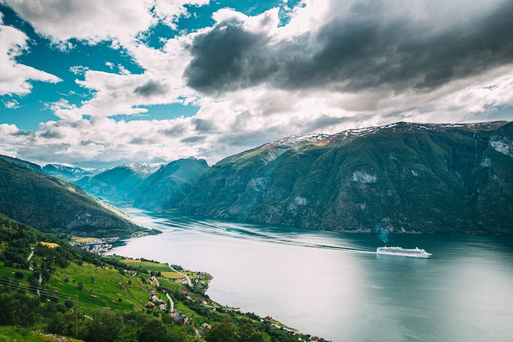 A view of the Aurland fjord in Norway