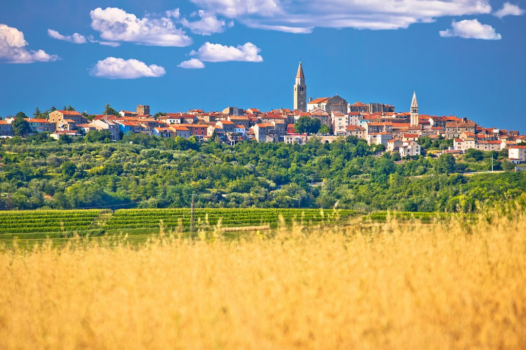 Small villages dot the idyllic countryside of Istria in north-western Croatia