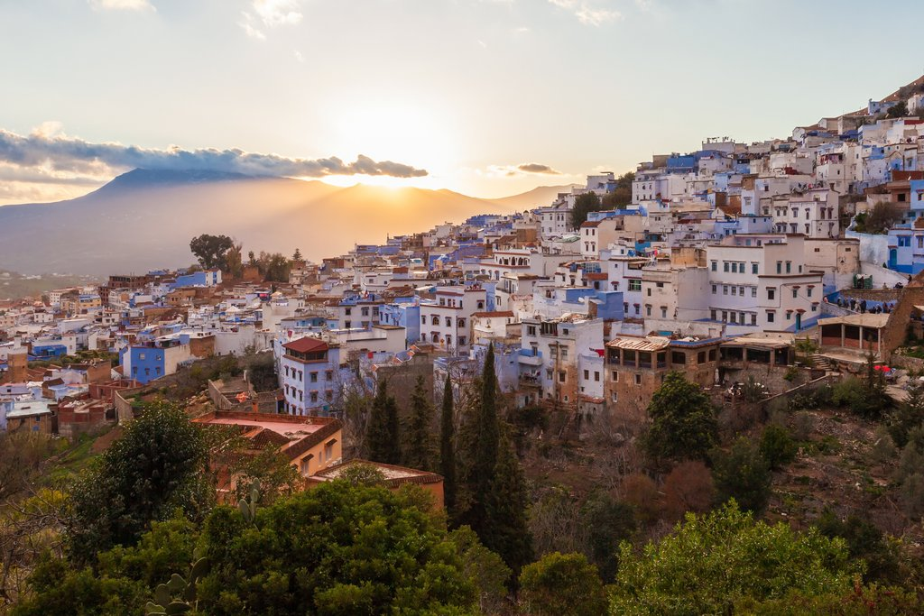 Sunset over Chefchaouen in the north of Morocco