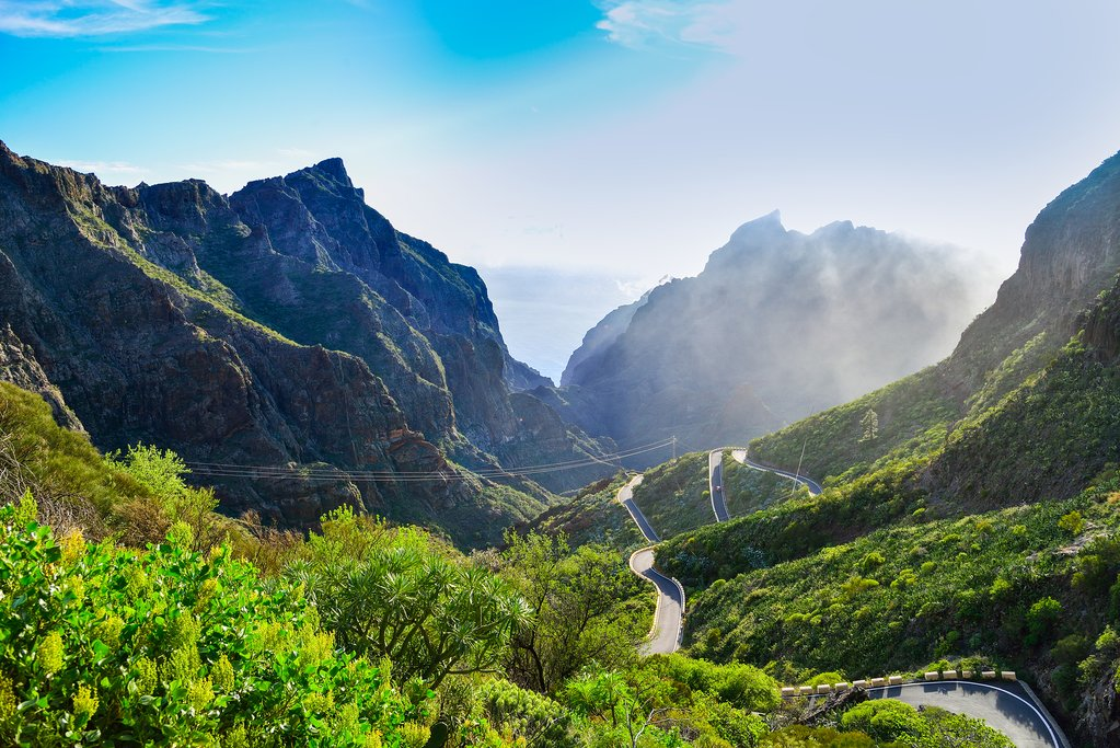 The road toward Masca village and Los Gigantes mountain, Tenerife.