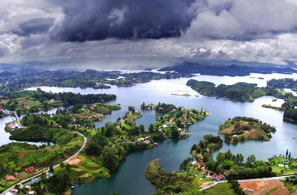Stunning views across Guatapé Lake from Peñol Rock, near Medellín.