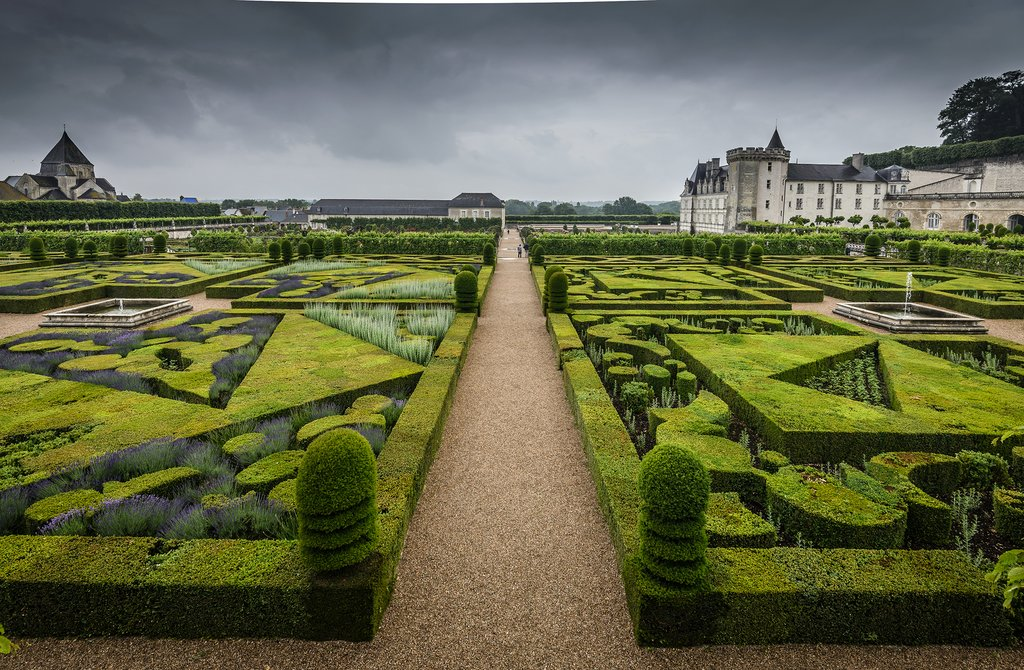 Château de Villandry on a cloudy spring day