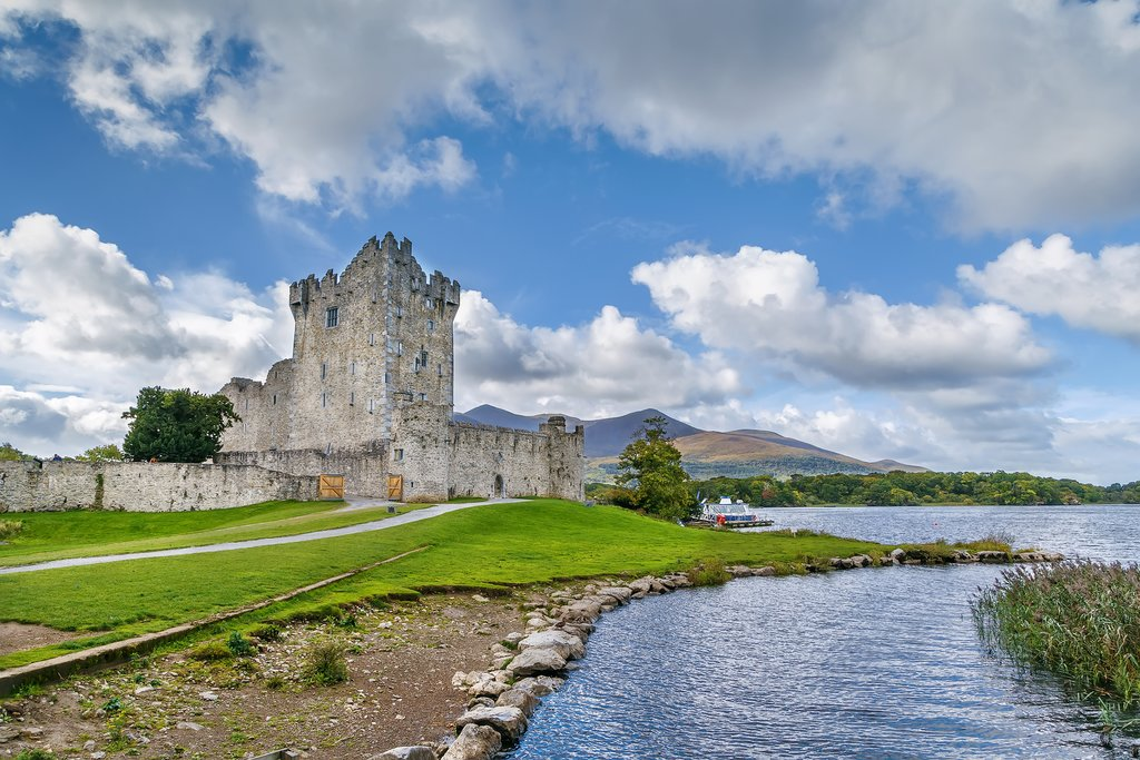 The medieval ruins of Ross Castle, Killarney National Park.
