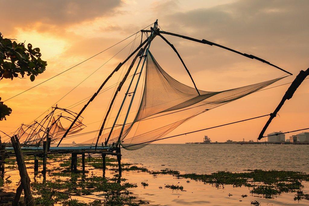 Chinese finshing nets at sunrise, Cochin