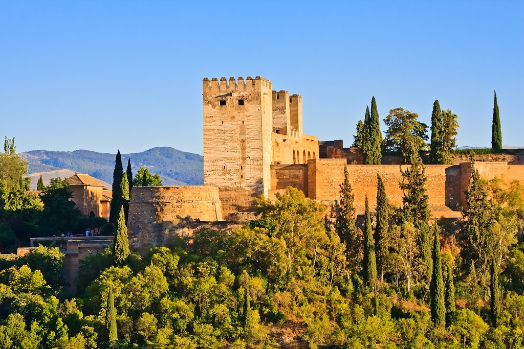 A view of the Alhambra at sunset