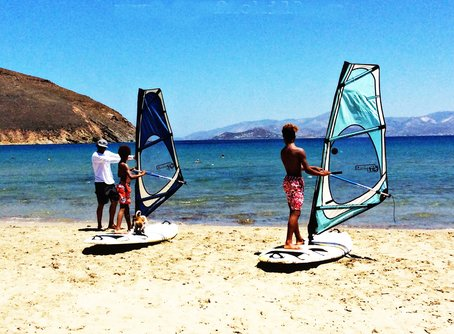 Getting ready to windsurf on the Aegean