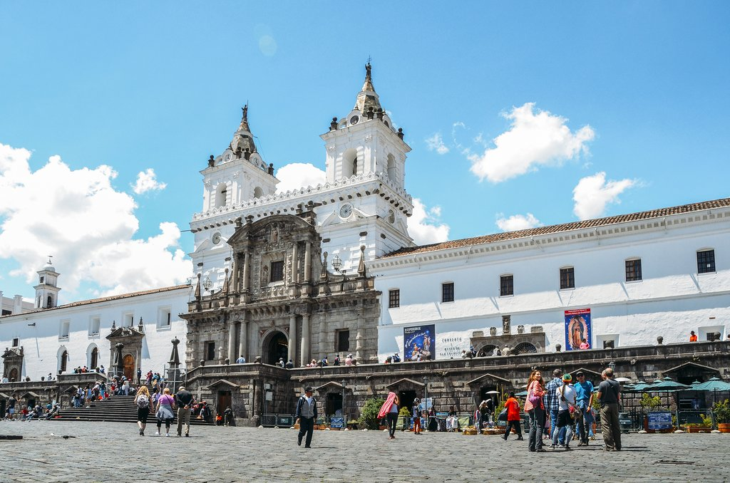 Wandering through the cobblestone plazas of Quito's beautiful Old Town