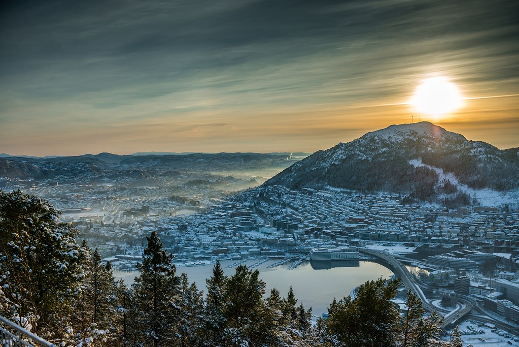 Snow-covered Bergen -- Norway's 2nd largest city.
