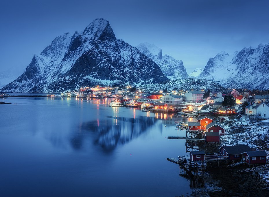 Lofoten's village of Reine after dusk