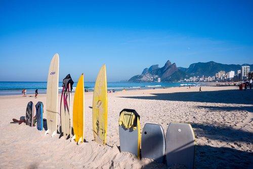 Surf boards on Ipanema Beach, Rio