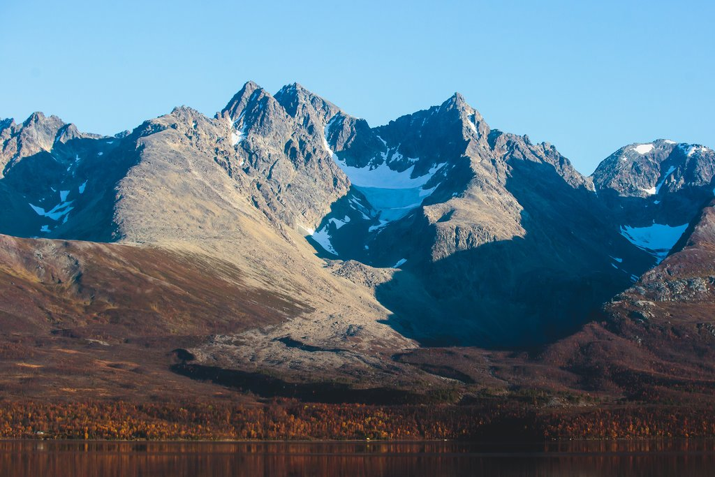 A view of the Lyngen Alps near Tromsø.
