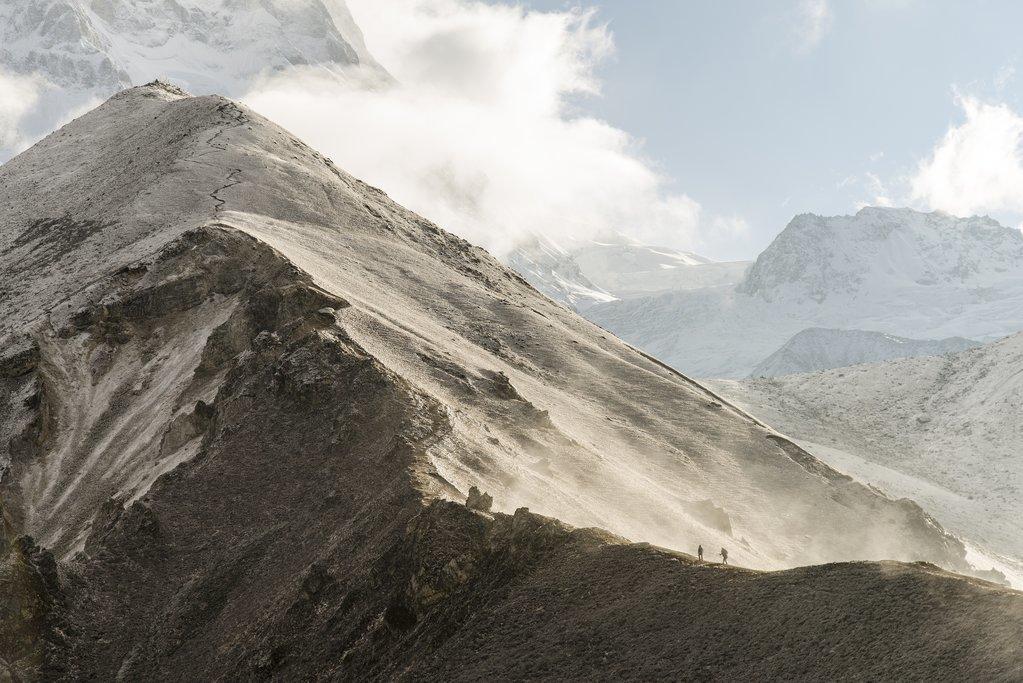 Hiking a ridgeline near Kyanjin Gompa, Langtang Trek, Nepal