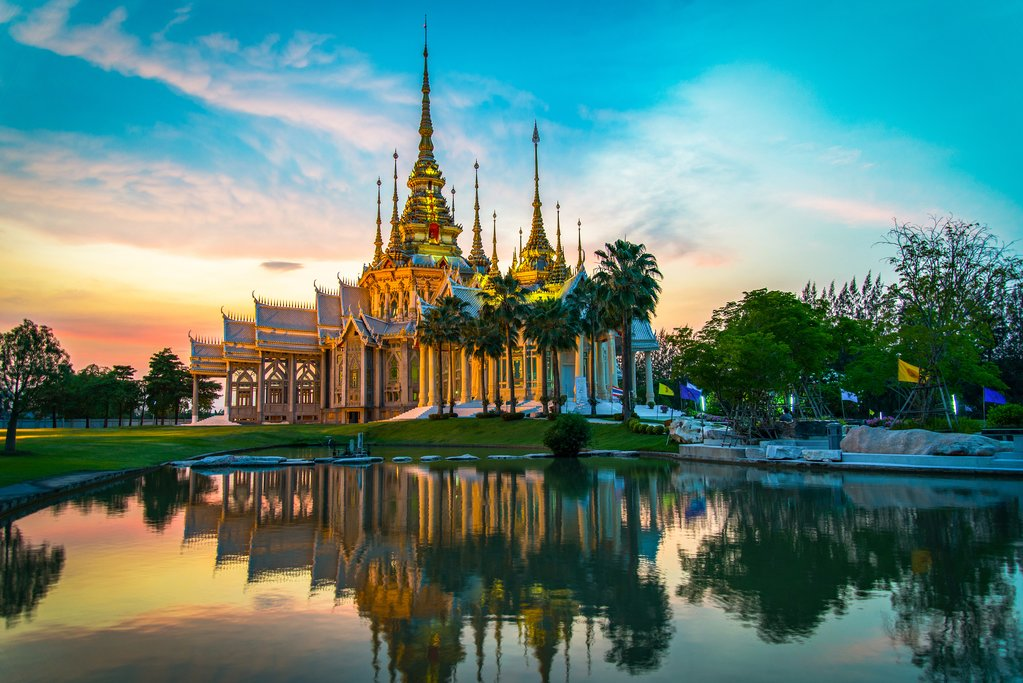 Landmark Nakhon Ratchasima province temple at Wat None Kum in Thailand