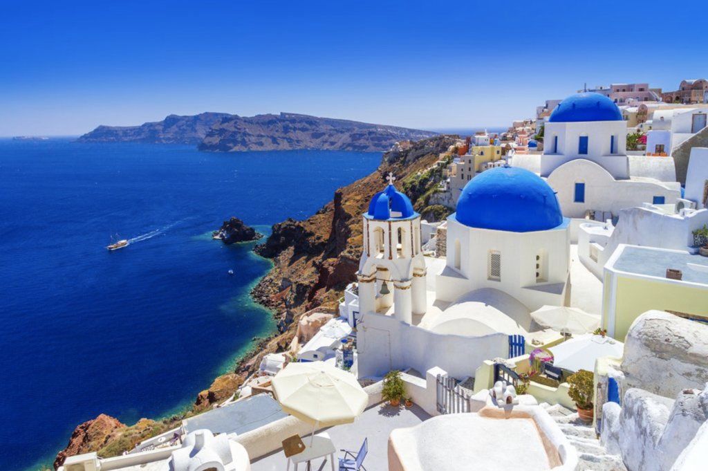 The blue-and-white domed buildings in Santorini