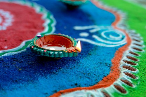 A rangoli to welcome the Goddess Laxmi on Laxmi Puja