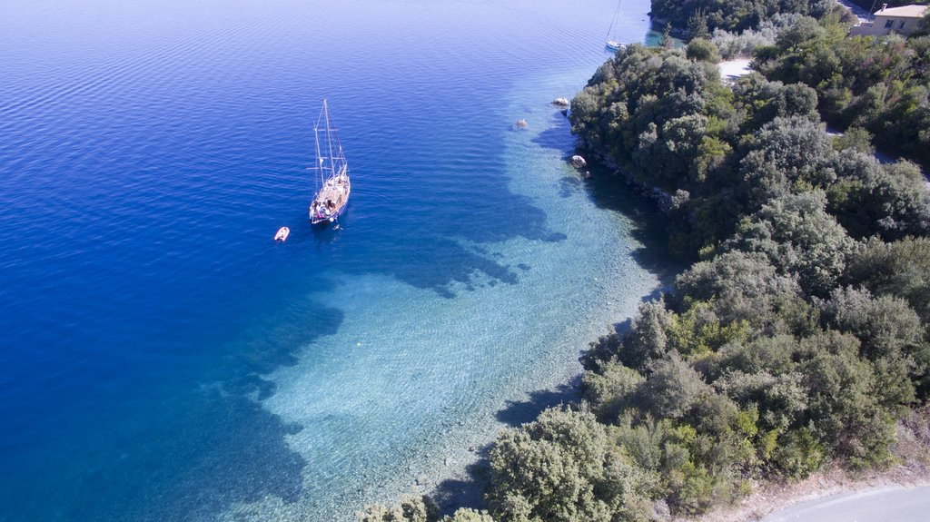 A secluded cove in the Ionian sea, accessible only by boat