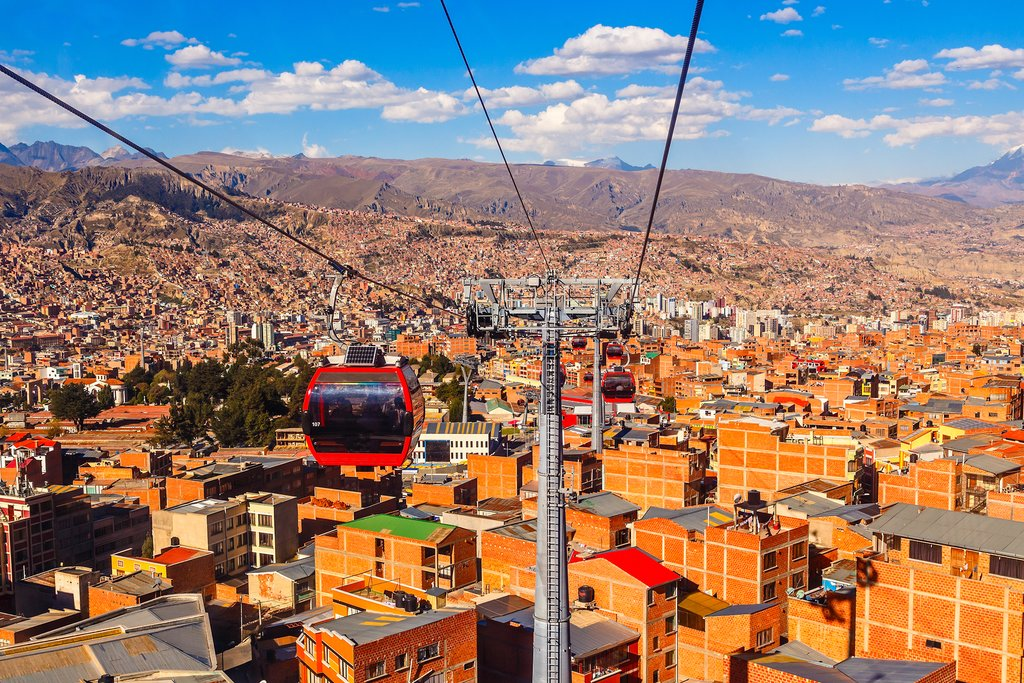 View of La Paz and the mountains from a cable car
