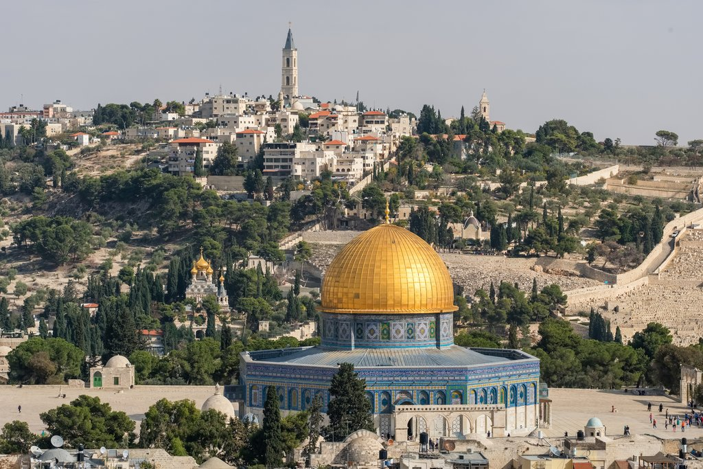 Dome of the Rock and Mount of Olives in Jerusalem