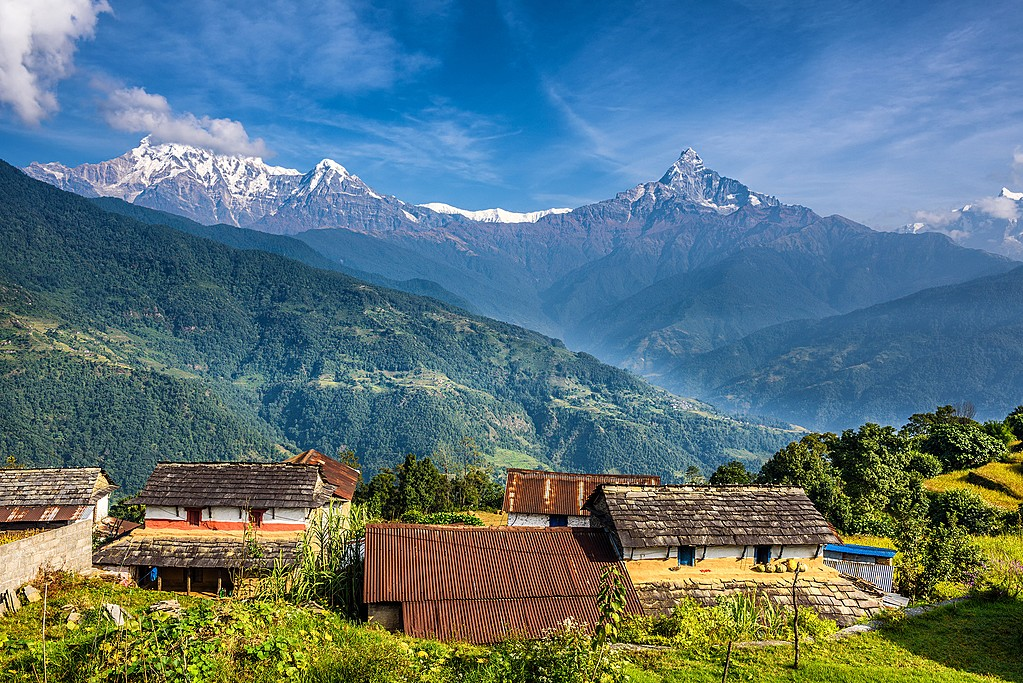 Nepal features a wide variety of climates and seasons, as seen from this view in the Annapurna Region