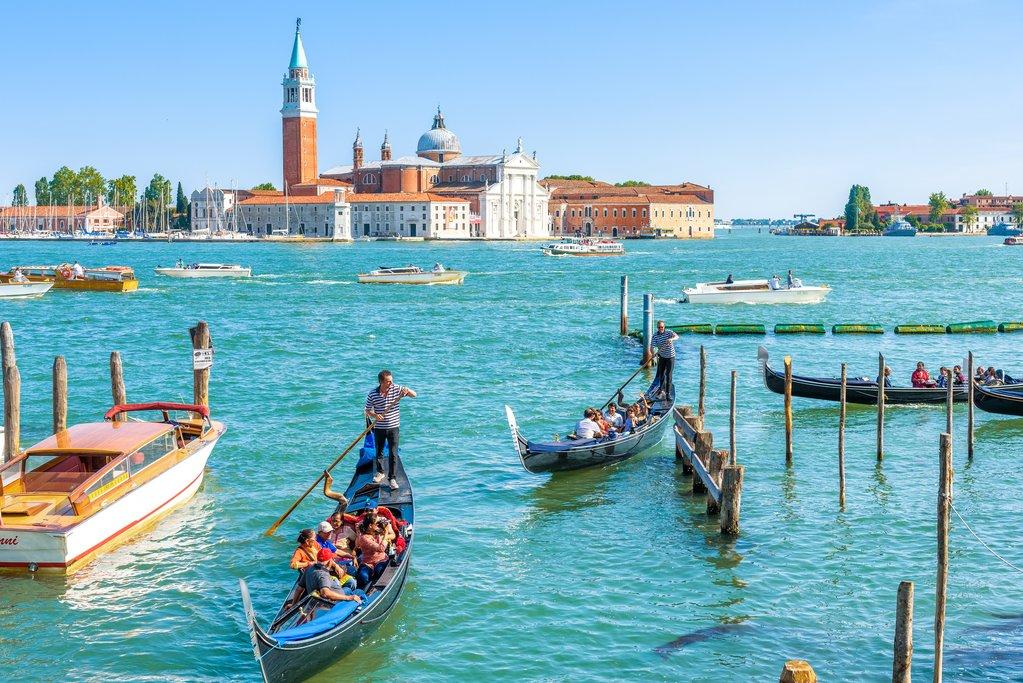 Gondolas near Piazza San Marco in Venice