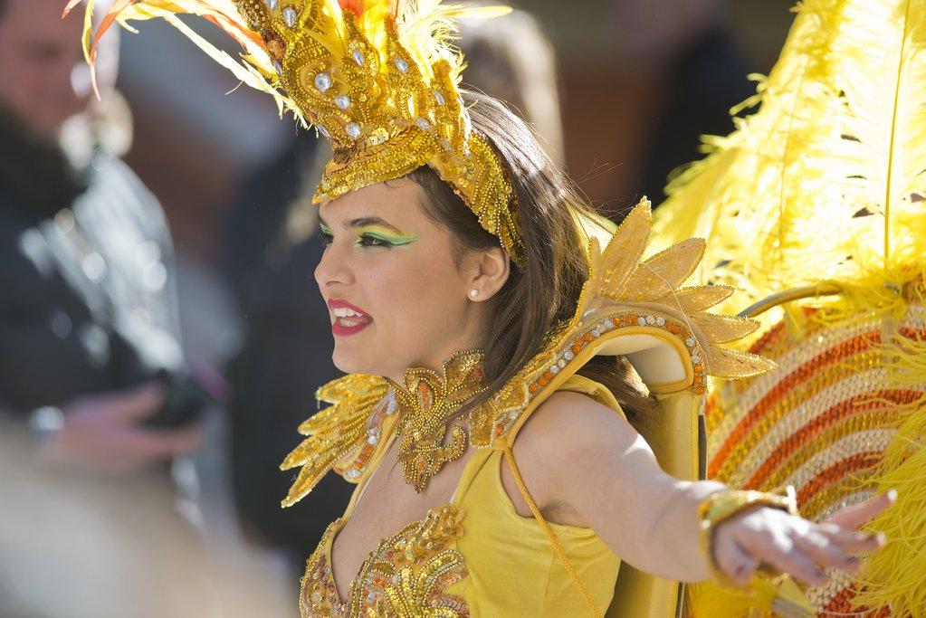 Performer in the Fête du Citron (Lemon Festival) parade in Menton