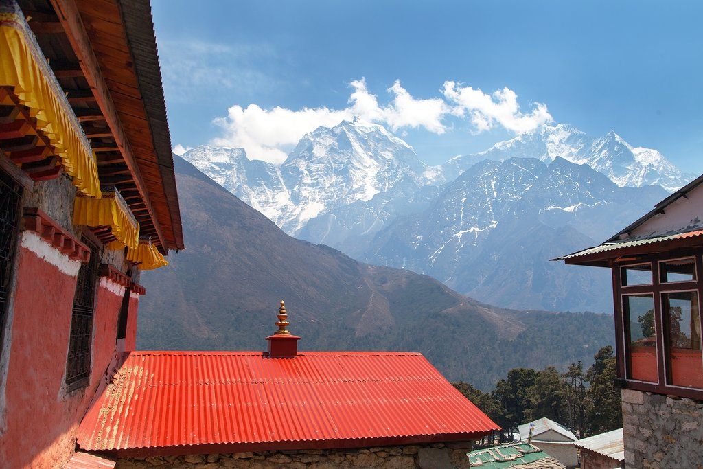 Views over the Eastern Himalayas from Tengboche Monastery