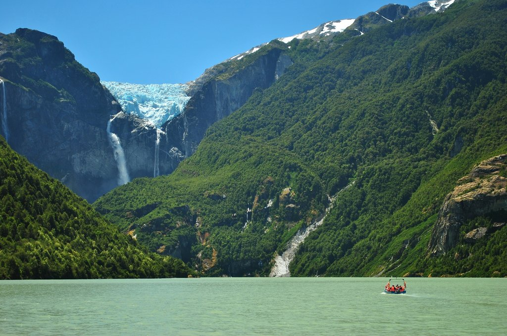 Hanging Glacier at Queulat National Park in Chile