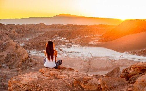 The Atacama desert lies in the high arid desert plateau in Chile