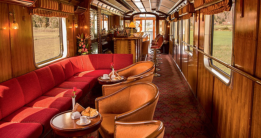 The elegant bar car on PeruRail's Hiram Bingham train