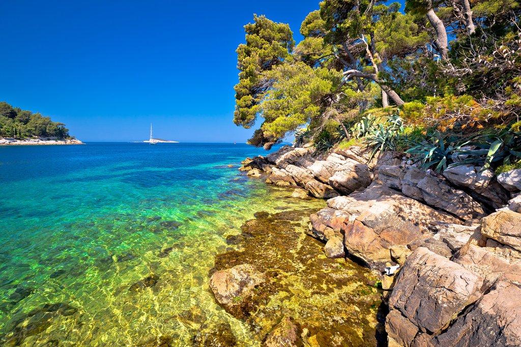 Idyllic turquoise stone beach near Cavtat
