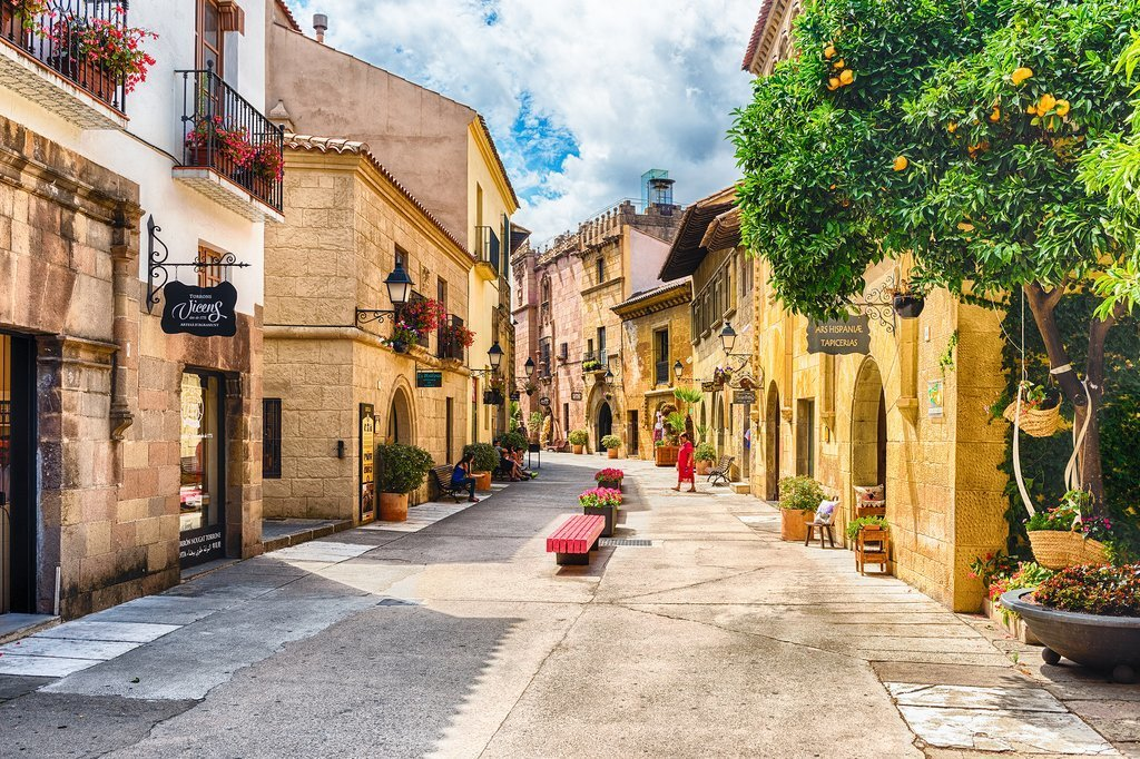 Traditional street in Barcelona's Poble Espanyol