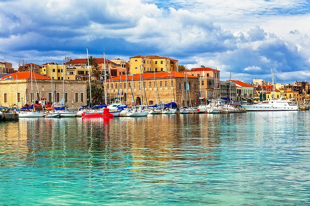 The harbor of Chania on Crete