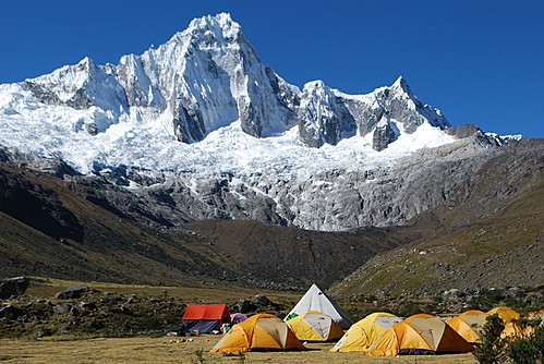 Camp while trekking in the Cordillera Huayhaush
