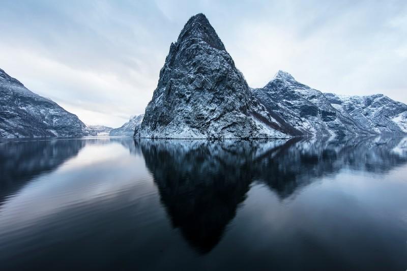 Winter snow dusting Norway's fjords.