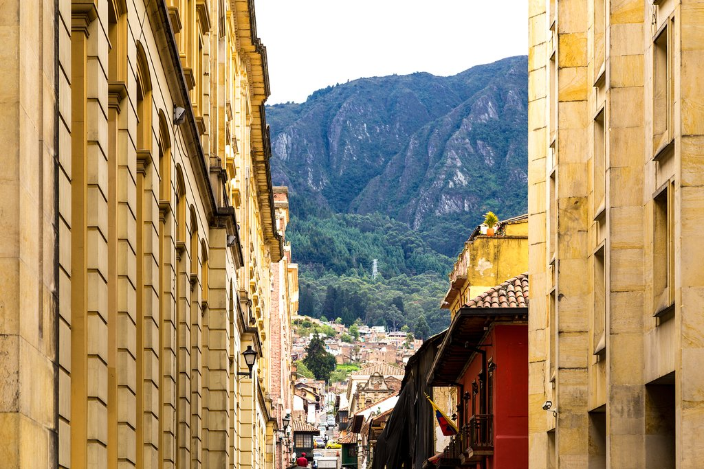 A view of the mountains from Bogota's La Candelaria district.